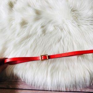 J. Crew Genuine Italian Leather Thin Red Belt XS